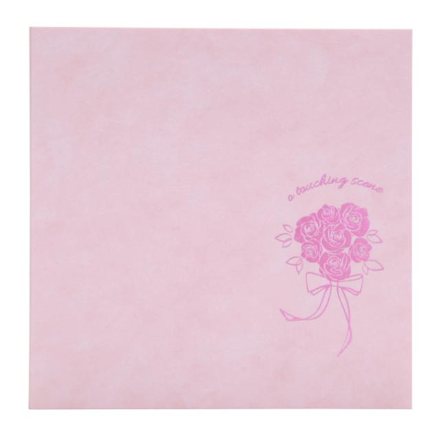 フォトマウントましかく(89x89mm) 2面 マーブルピンク 箔:バラの花束