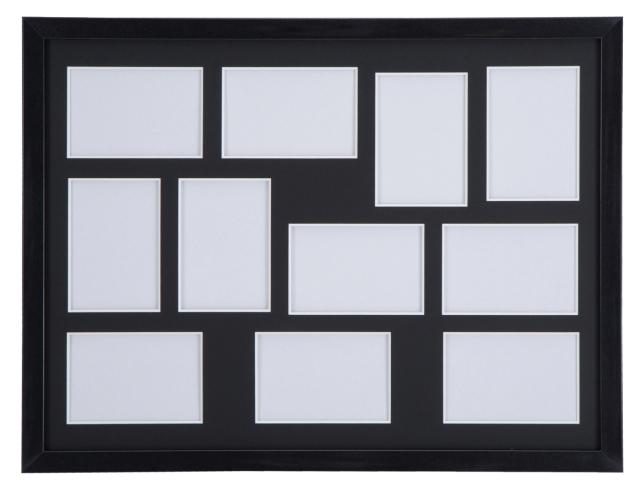 高級木製額縁 FI メタリックブラック 多面 L判11面