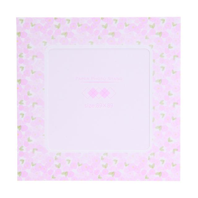 ペーパーフォトスタンド ましかく(89x89mm) フラワー ピンク