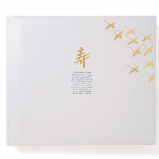 新セットアルバム 鶴10羽 パールホワイト 表紙のみ (注文生産品 中台紙別売り) 化粧箱付き [ウェディング用]