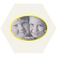 ハニマット ミニ 楕円ヨコ ホワイトオンイエロー