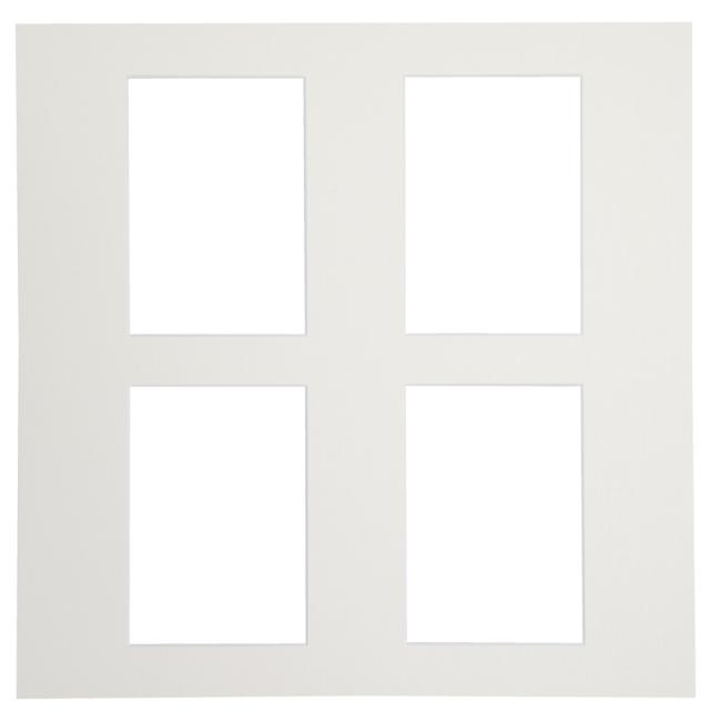 カスタム中台紙  6切サイズ ホワイト 窓抜:L角4面