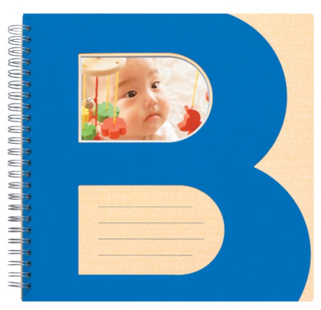 ブックリングアルバム ベビー 2L 8ページ ブルー  表紙窓付き