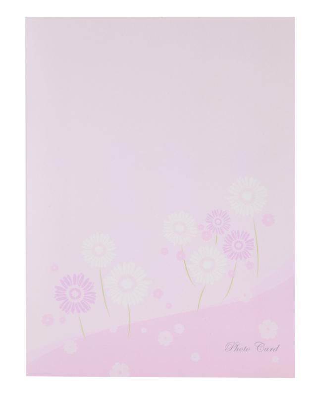 フォトマウントカード ハガキ タテ フラワー / ピンク 2面