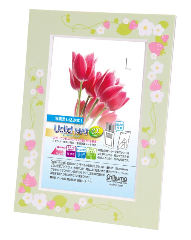 ユークリッドマットex  L イチゴ・グリーン (柄 印刷タイプ)