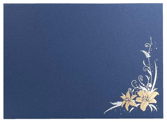 新仏事台紙 ゆり  横 L判1面  藍色