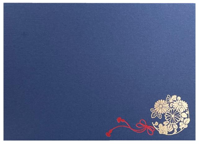 新仏事台紙 まり  横 L判1面  藍色