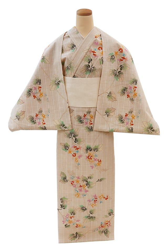 【反物】女性 『玉むし』茶紬 柏葉紫陽花