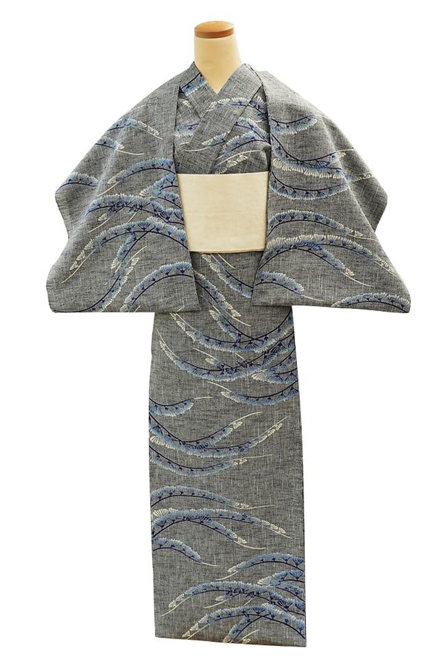 【反物】女性 『紬ゆかた』懸崖(けんがい)の菊