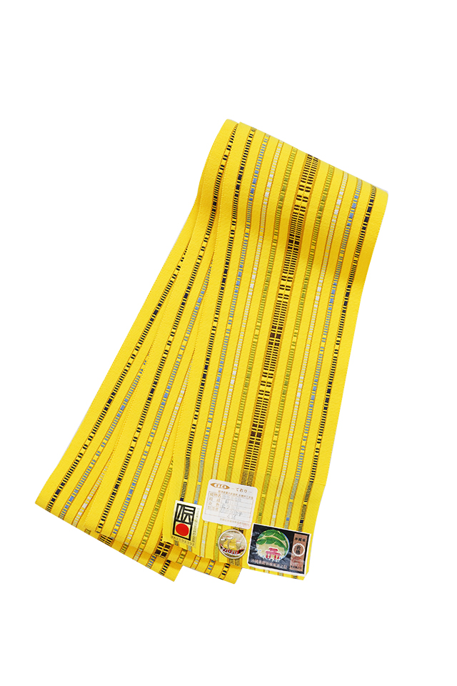 【道屯花織半巾帯】黄色地多色縞 茶緑ブルー濃淡