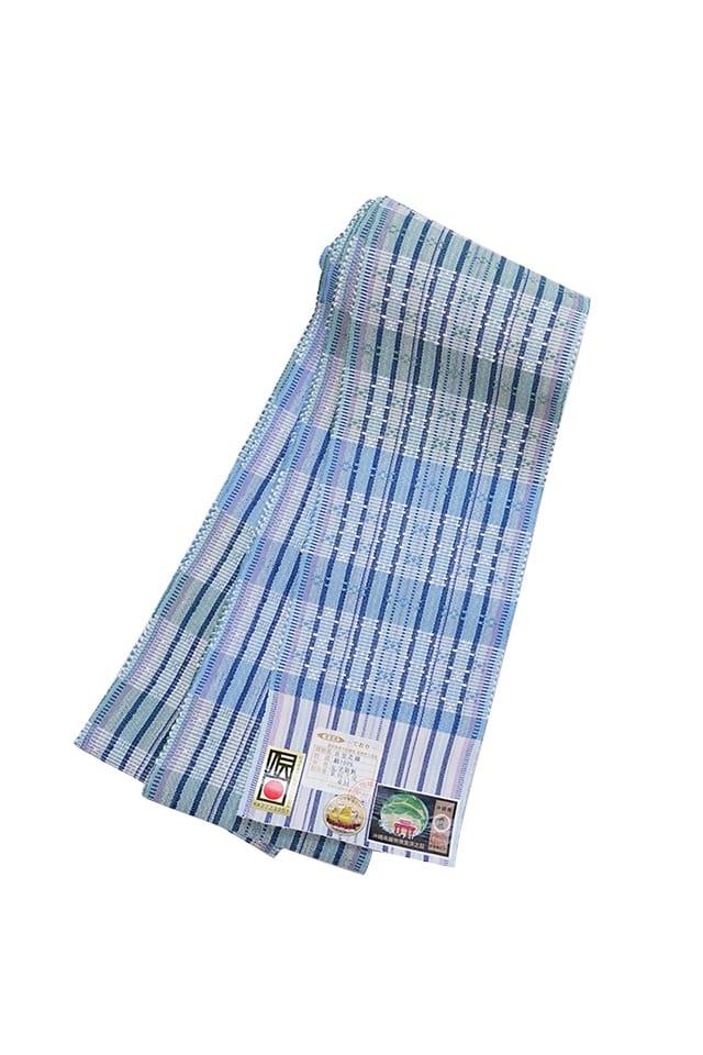 【道屯花織半巾帯】薄藍鶸色地 藍薄紫横縞