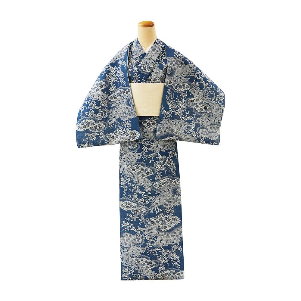 【反物】女性 『紅梅小紋』松竹梅に七宝青海波