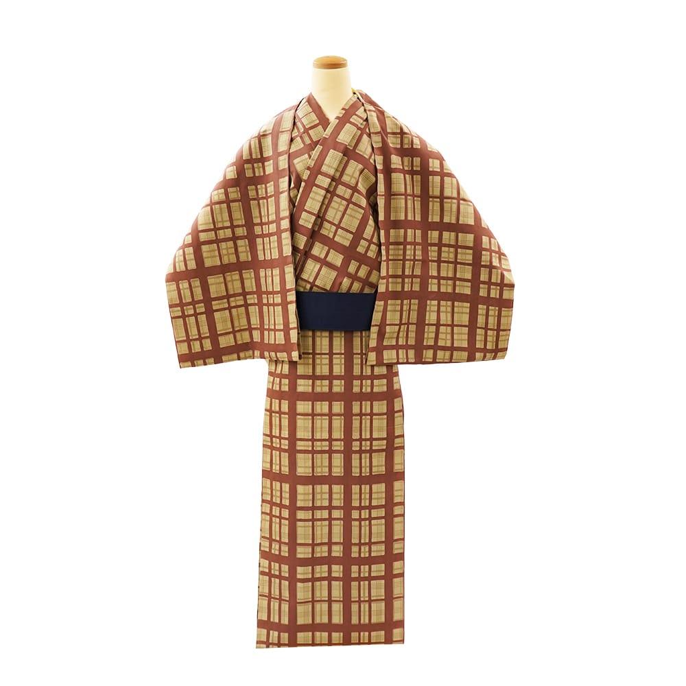 【反物】男性 『細川クレヤーキング』コーマ地 やたら格子 茶ベージュ