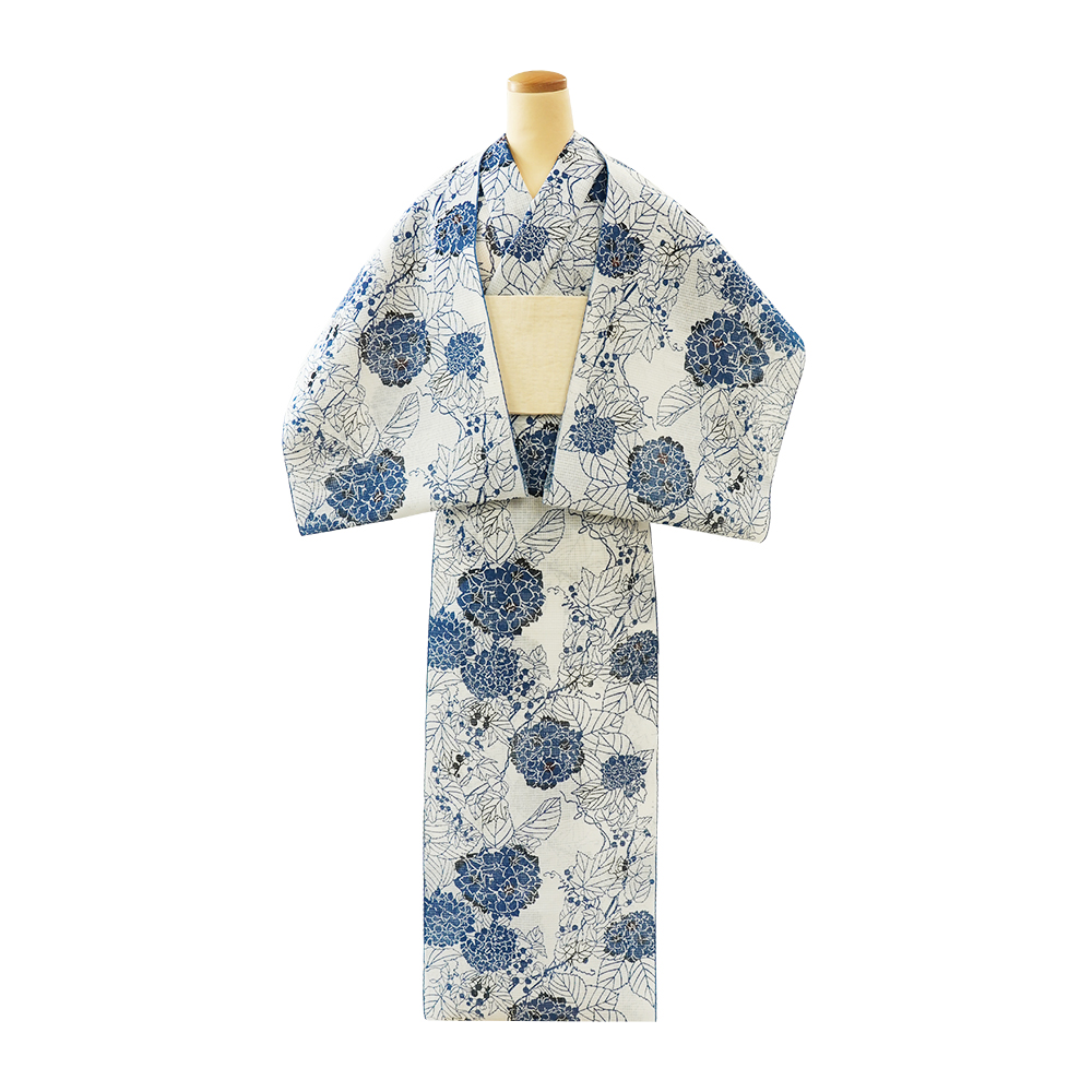 【反物】女性 『紅梅小紋』紫陽花と山葡萄