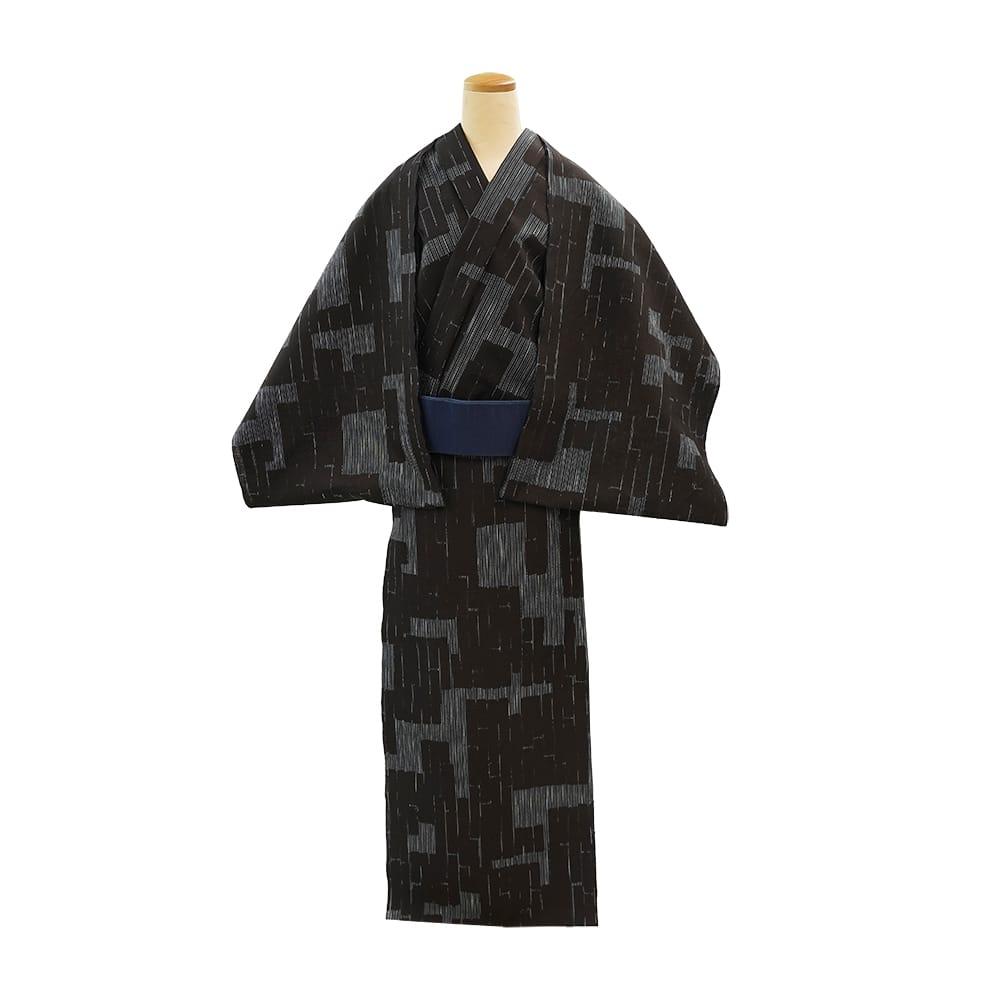 【反物】男性 『細川クレヤーキング』黒紬やたら縞