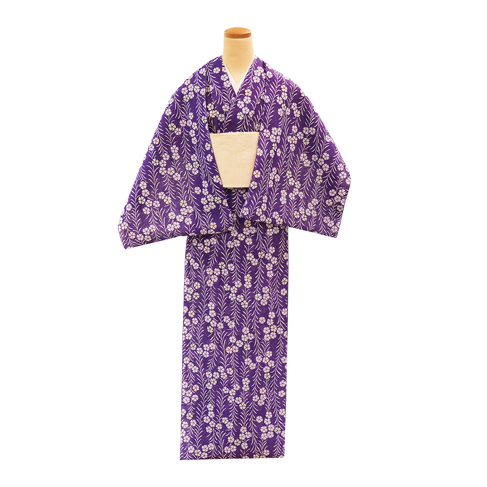 【反物】女性 『紅梅小紋』撫子つなぎ 紫