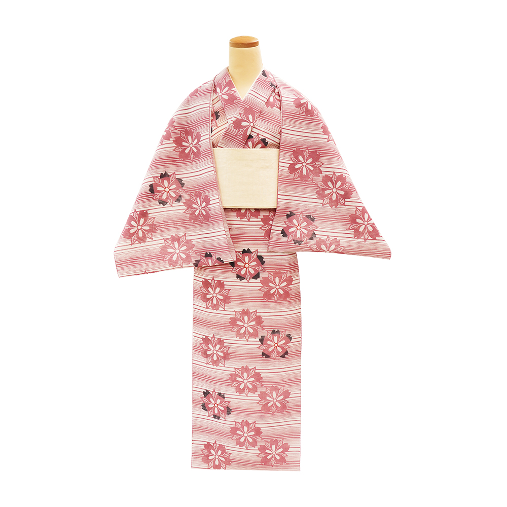 【通販限定反物】女性 『紅梅小紋』横段に桜 薄蘇芳(うすすおう)