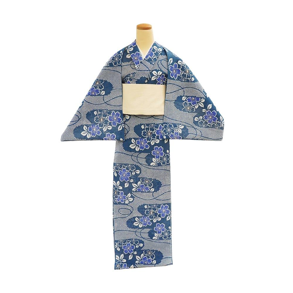 【反物】女性 『型絵染 紅梅小紋』疋田流水に桜