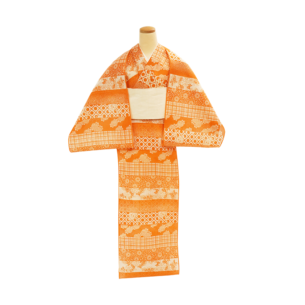 【反物】女性 『絹紅梅』寄せ小紋段変り 赤橙