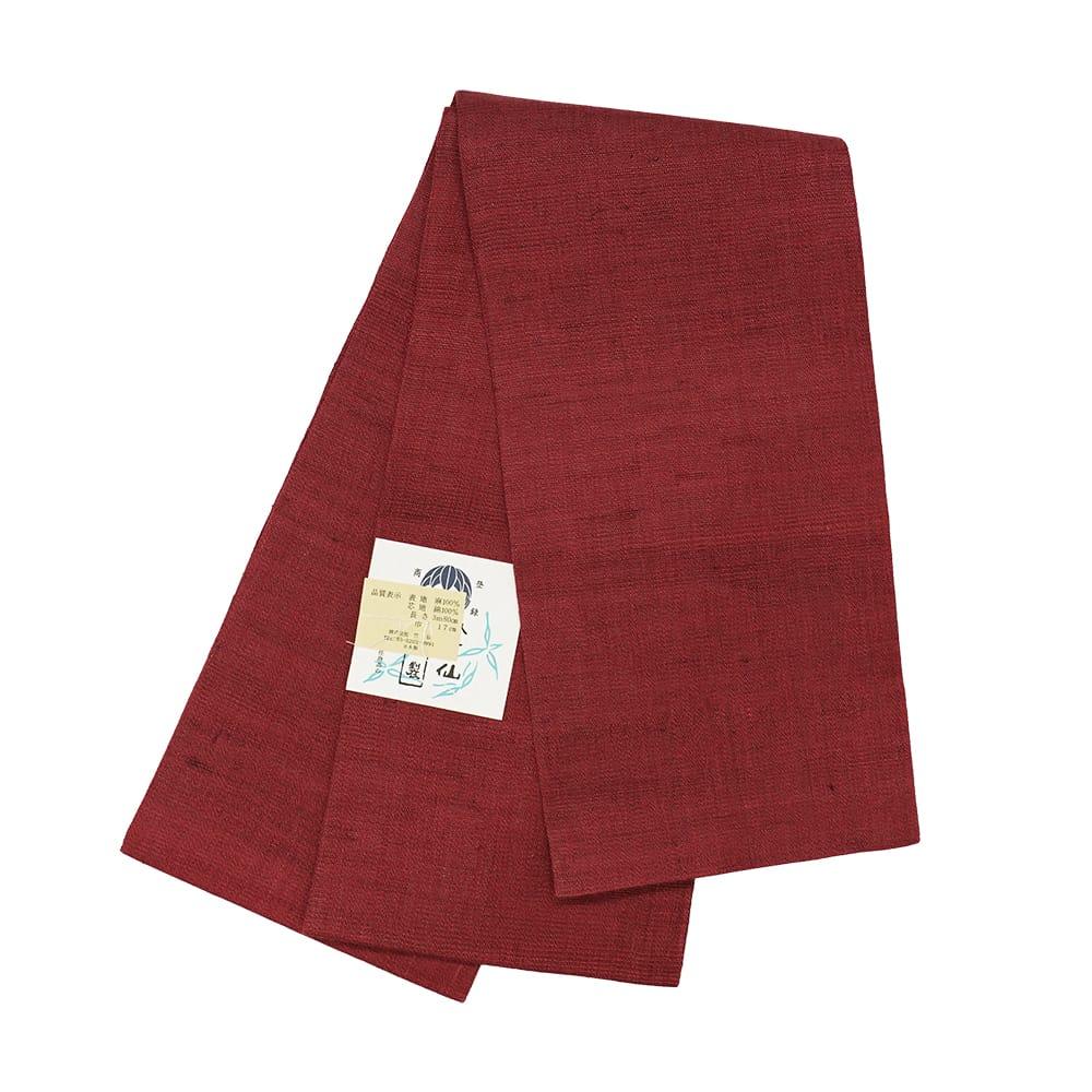 【麻半巾帯】臙脂