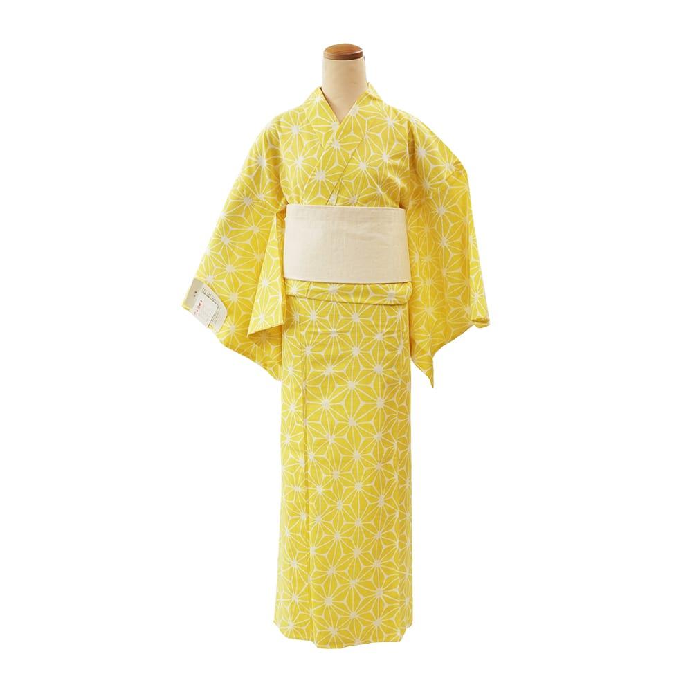 【浴衣プレタ】女性 『綿絽地染』麻の葉 黄色 <Mサイズ>