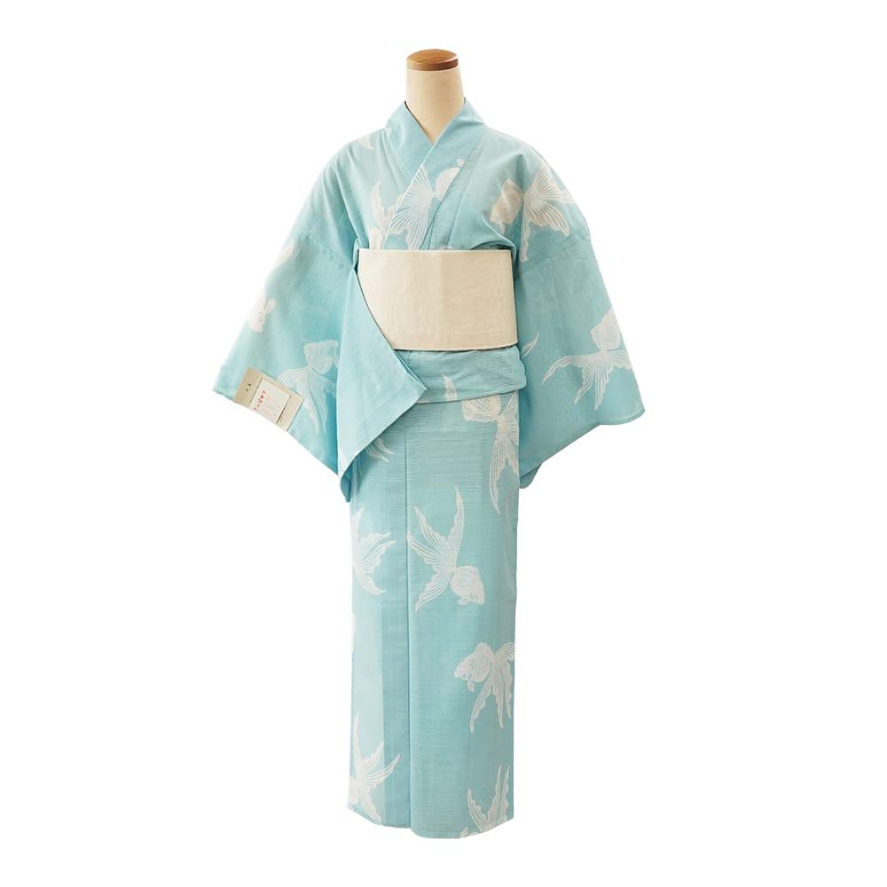 【浴衣プレタ】女性 『綿絽地染』金魚 水色 <Mサイズ>