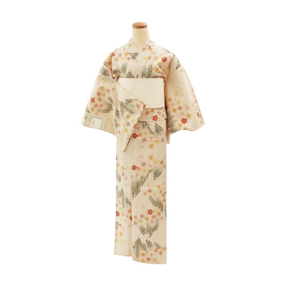 【浴衣プレタ】女性 『玉むし:茶紬』撫子束ね <Mサイズ>