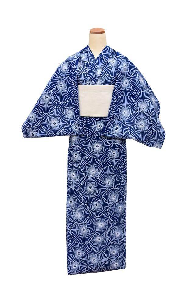 【反物】女性 『綿絽地染』万寿菊 納戸地