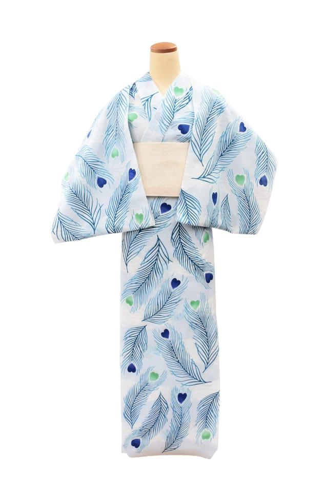 【反物】女性 『玉むし』白紬 孔雀の羽根と菊