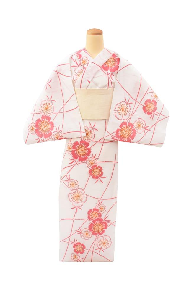 【反物】女性 『綿絽白地』撫子 ピンクオレンジ