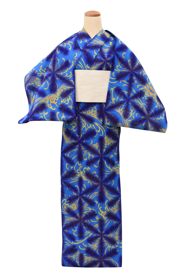 【通販限定浴衣反物】女性 『板締め浴衣』ブルー地菊柄