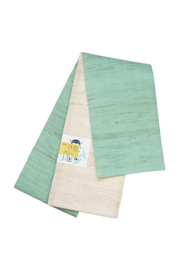 【麻半巾帯】 ミント×生成