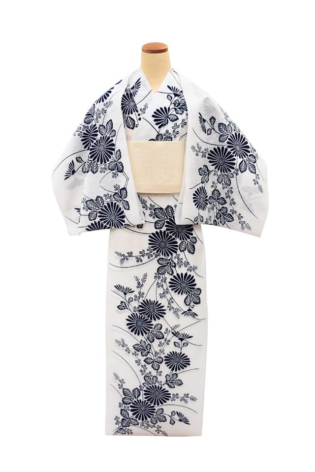 【反物】女性 『綿絽白地』菊に萩