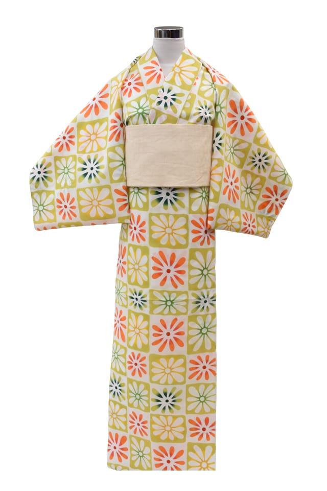 【反物】女性 『コーマ白地』市松取黄オレンジ菊
