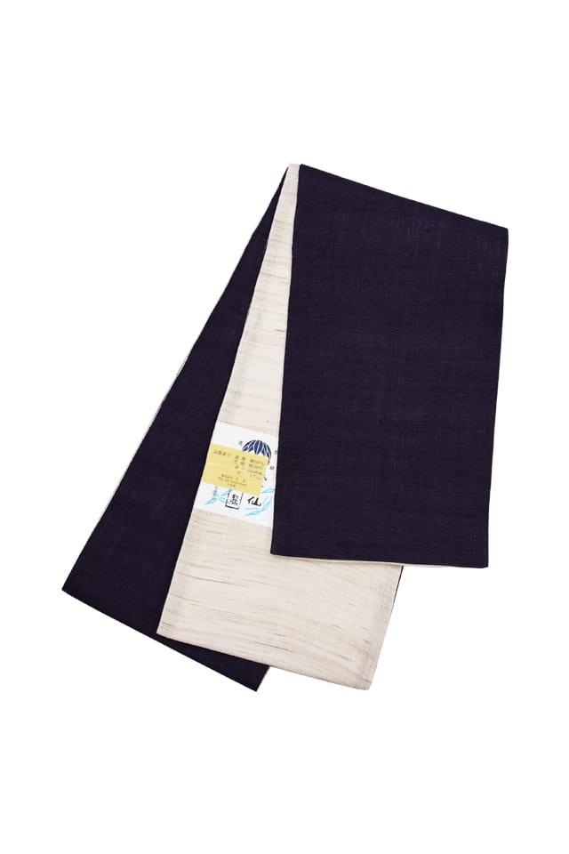 【麻半巾帯】 濃紫色×生成