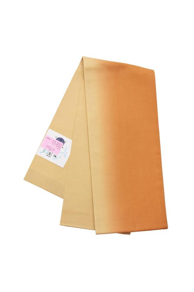 【紬半巾帯】 茶ベージュ ぼかし
