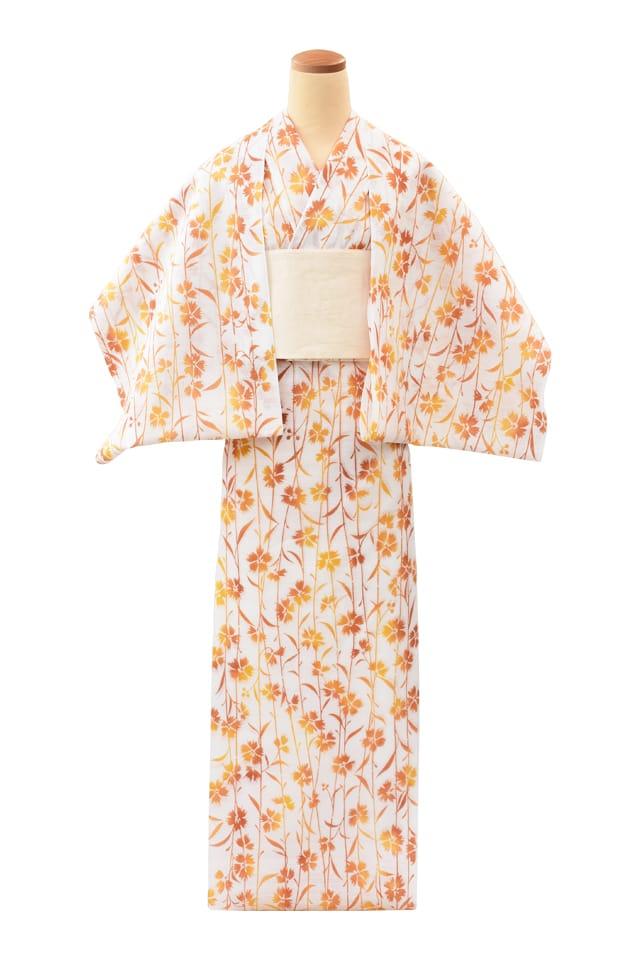 【反物】女性 『綿絽白地』オレンジぼかし撫子