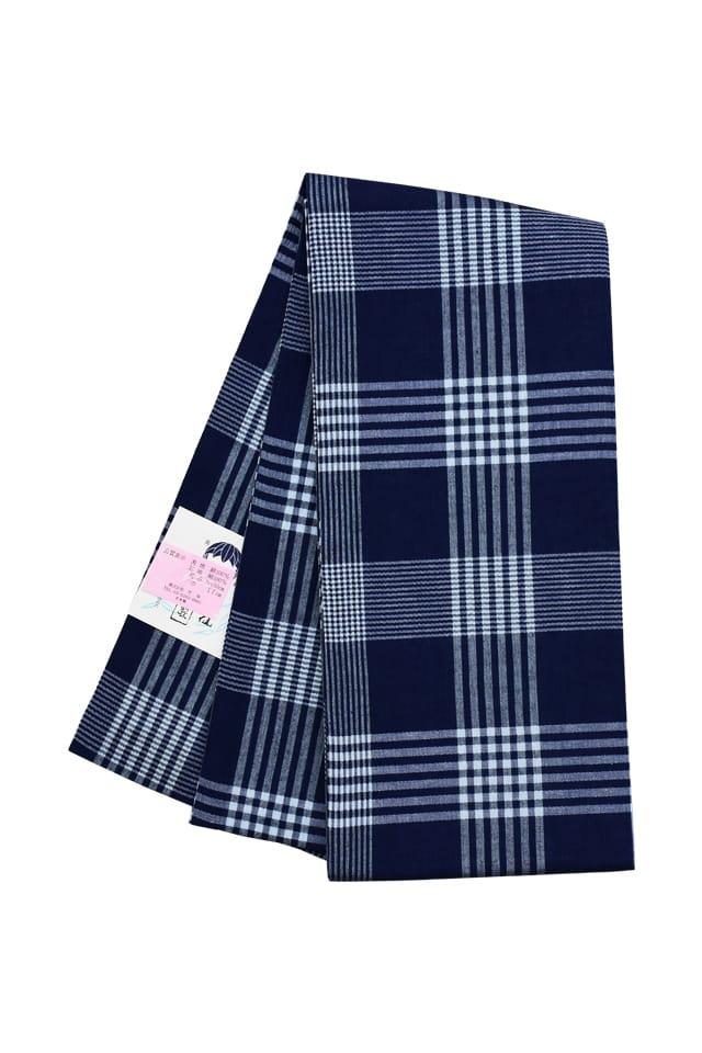【明石半巾帯】 紺地 白 大小格子