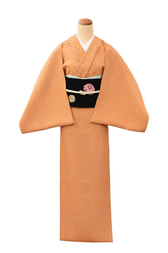 『江戸小紋』市松(錐彫中柄) 橙色