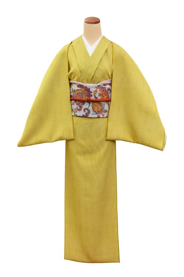 『江戸小紋』雨入り万筋 藤黄色