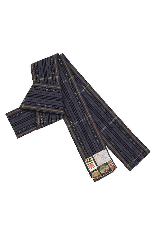 【ロートン花織男帯(綿)】藍ネズ地緑黄色