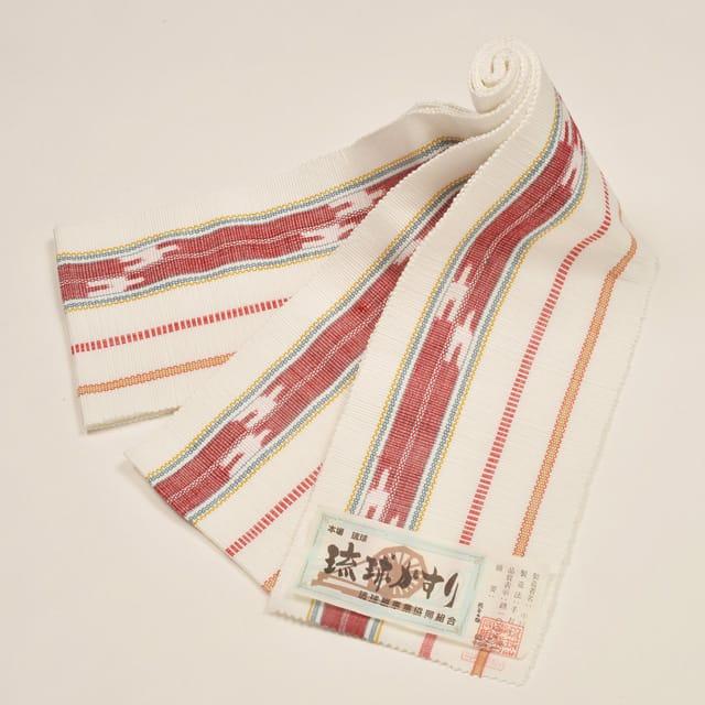 【琉球かすり半巾帯】白地絣
