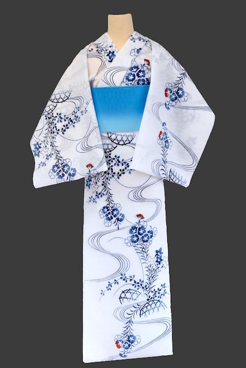 【反物】女性 綿絽白地 流水に秋草