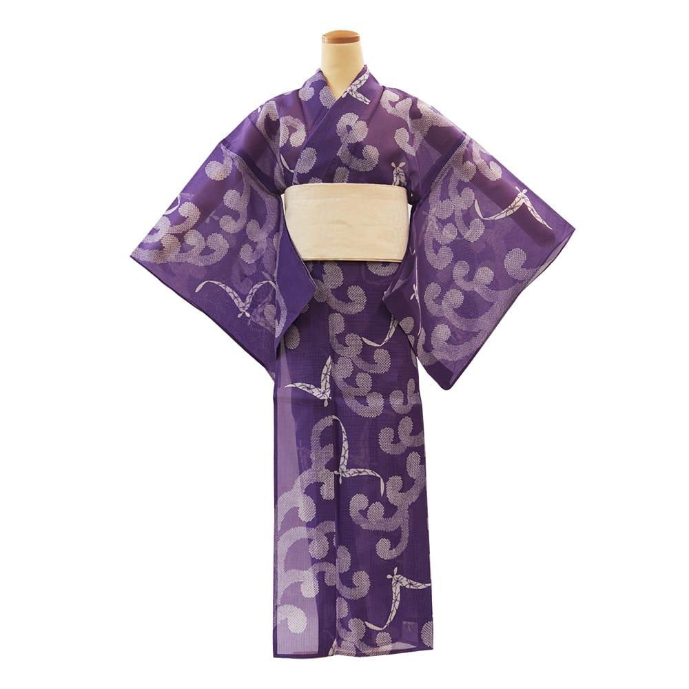 【アウトレットプレタ】 絹紅梅 波濤に鴎 紫地