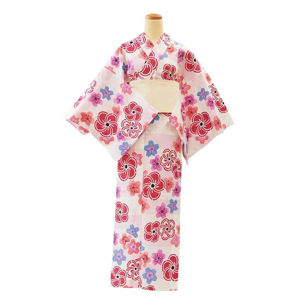 【アウトレットプレタ】 玉むし 白紬横段桜と梅