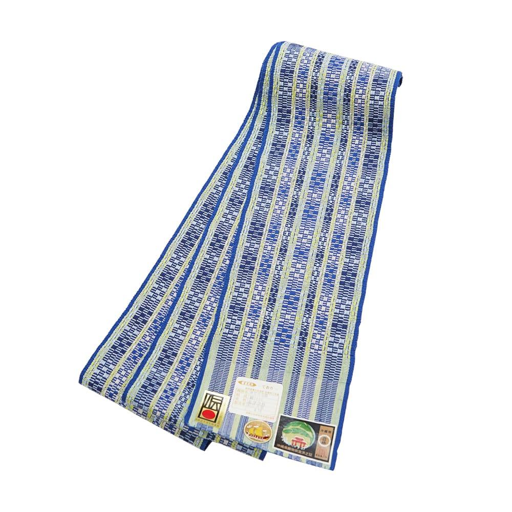 【道屯花織半巾帯】紺青色地 格子に黄色淡縞