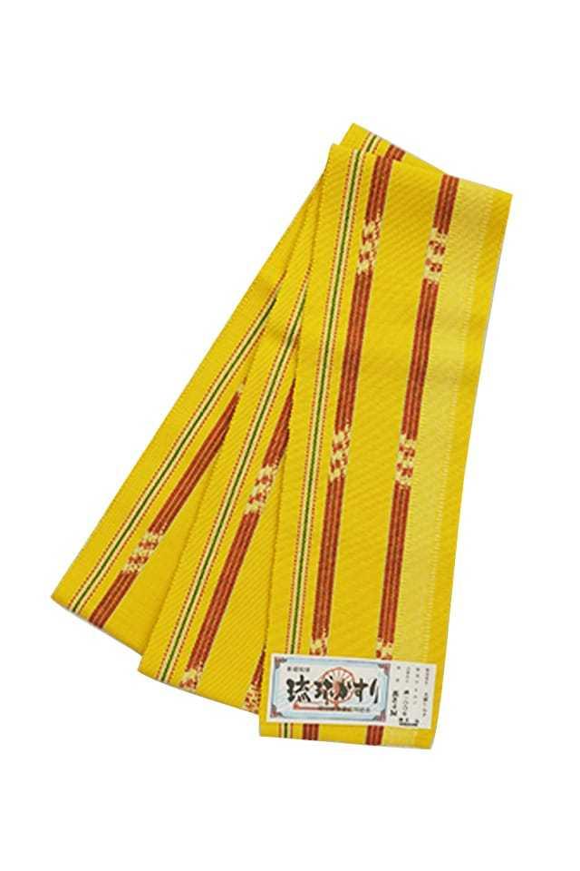 【琉球かすり半巾帯】 黄色地 赤二本縞