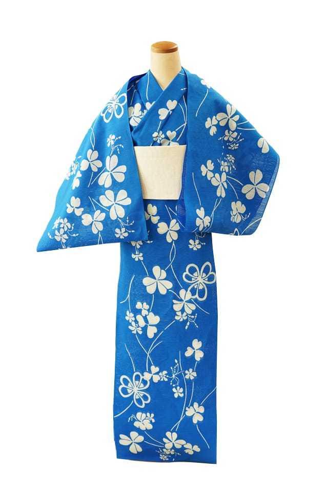 【反物】女性 『綿絽地染』 かたばみ ブルー地
