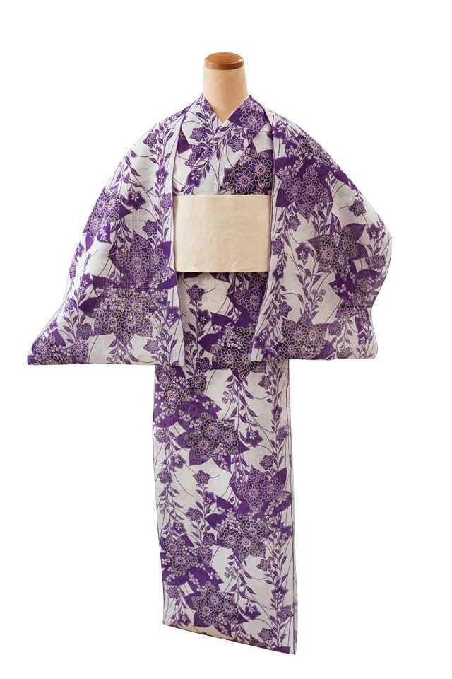 【反物】女性 『紅梅小紋』桔梗に菊 紫