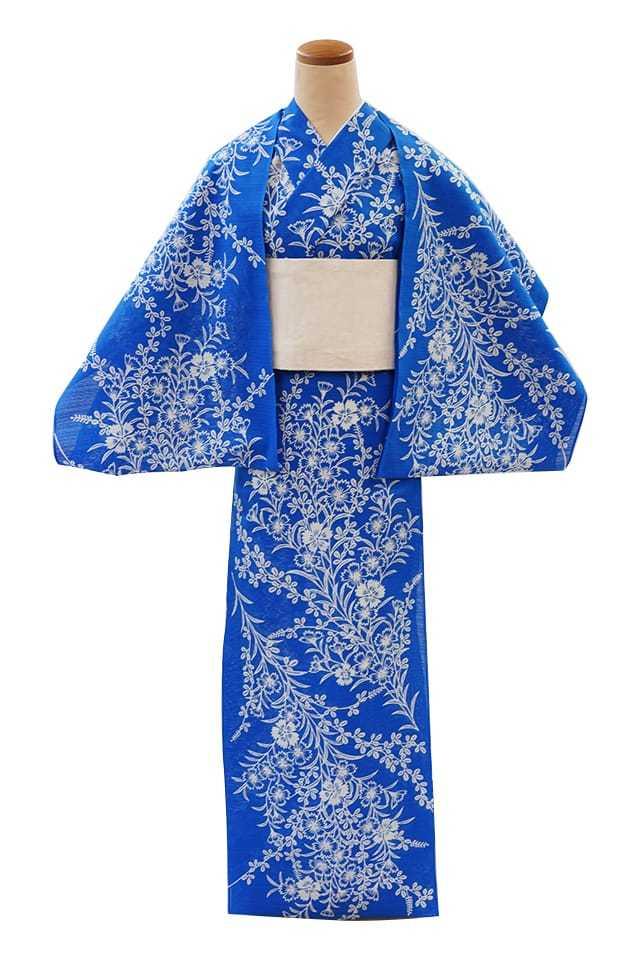 【反物】女性 『綿絽地染』萩に撫子 ブルー地